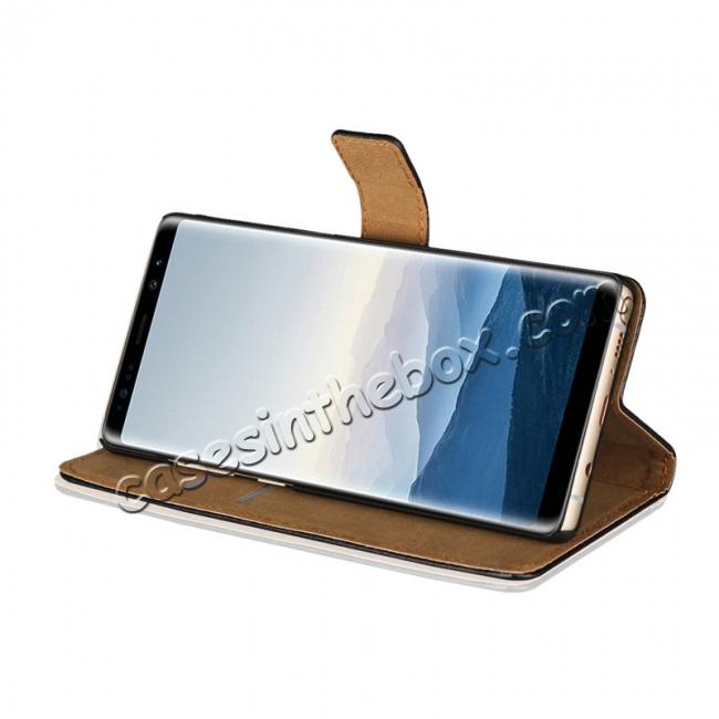 best price Luxury Genuine Leather Magnetic Flip Wallet Case Stand Cover For Samsung Galaxy Note 8 - Brown