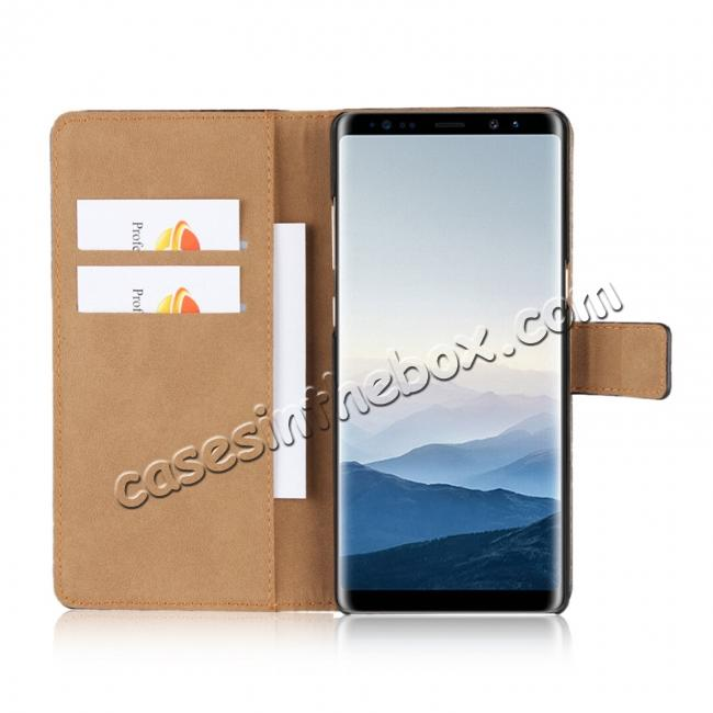 on sale Luxury Genuine Leather Magnetic Flip Wallet Case Stand Cover For Samsung Galaxy Note 8 - Brown