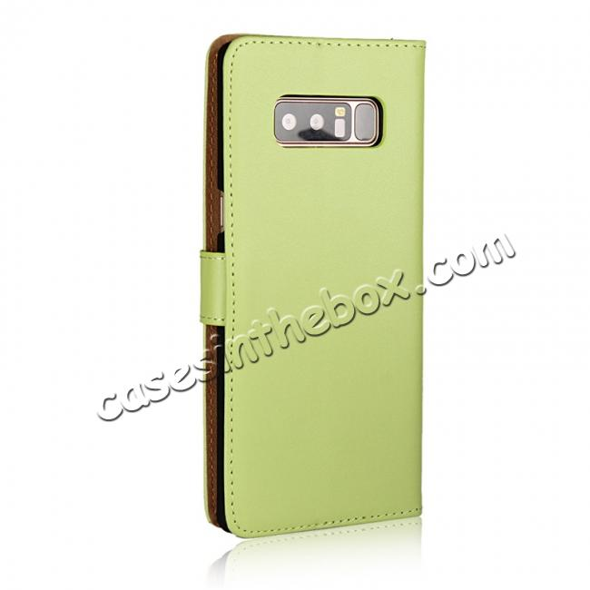 cheap Luxury Genuine Leather Magnetic Flip Wallet Case Stand Cover For Samsung Galaxy Note 8 - Green