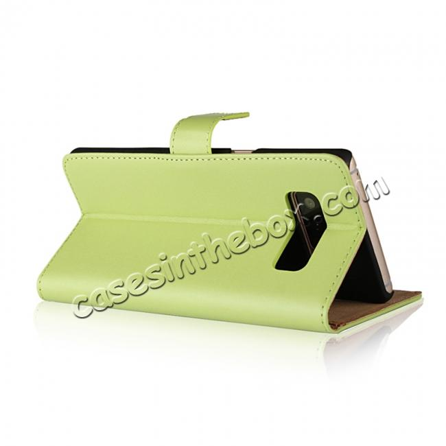 top quality Luxury Genuine Leather Magnetic Flip Wallet Case Stand Cover For Samsung Galaxy Note 8 - Green