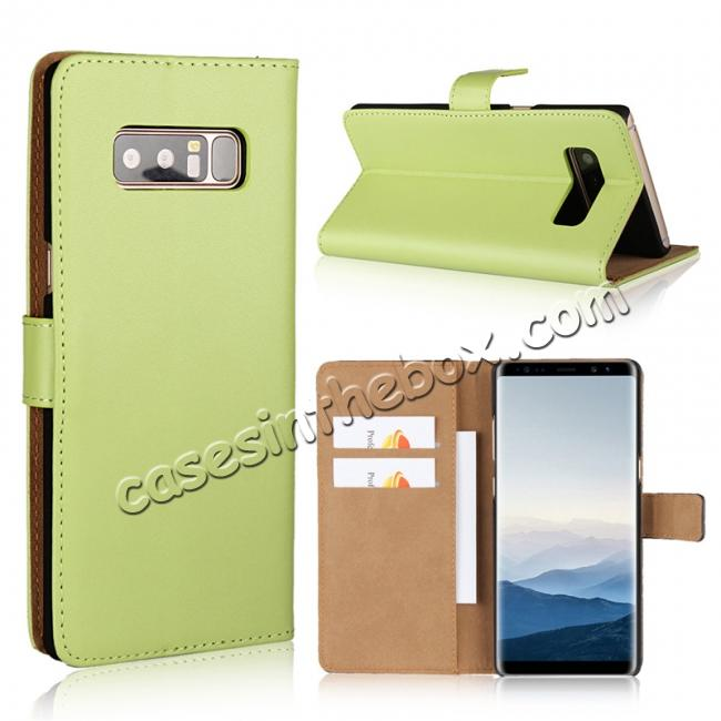 wholesale Luxury Genuine Leather Magnetic Flip Wallet Case Stand Cover For Samsung Galaxy Note 8 - Green