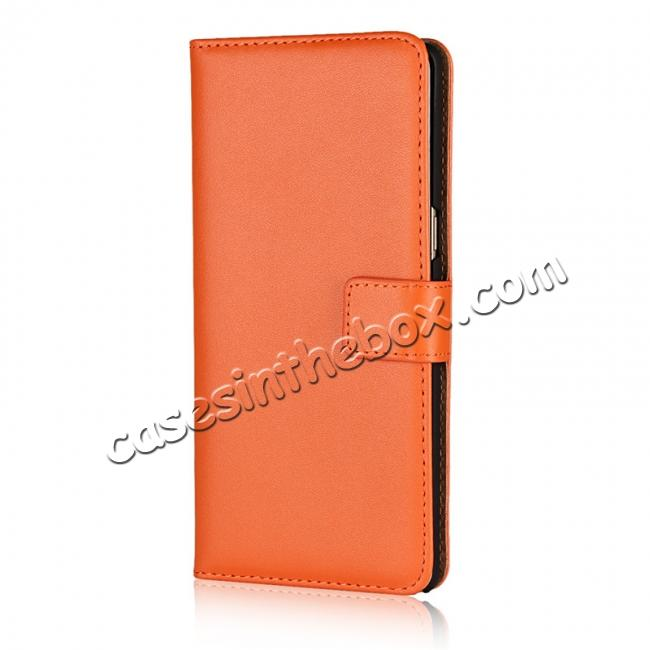 discount Luxury Genuine Leather Magnetic Flip Wallet Case Stand Cover For Samsung Galaxy Note 8 - Orange