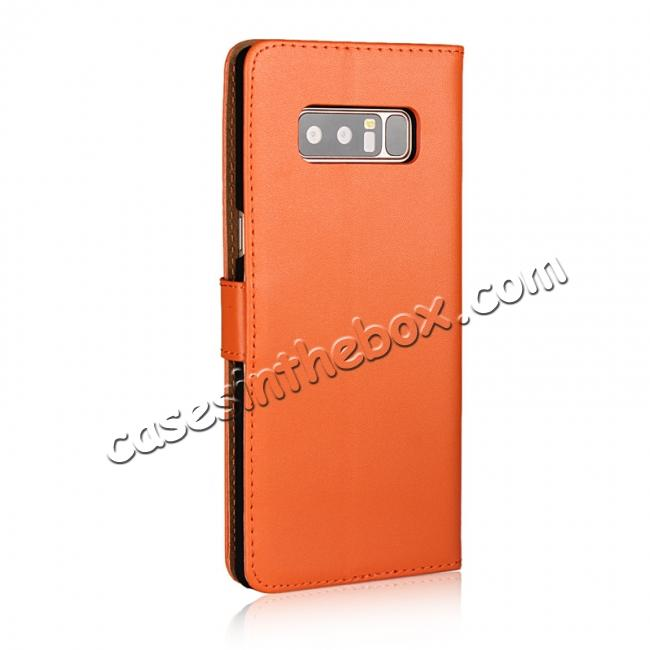 cheap Luxury Genuine Leather Magnetic Flip Wallet Case Stand Cover For Samsung Galaxy Note 8 - Orange