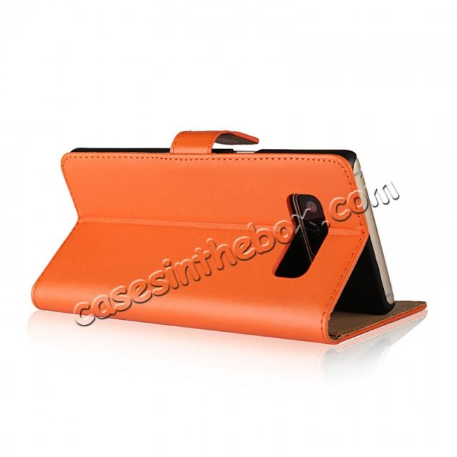 top quality Luxury Genuine Leather Magnetic Flip Wallet Case Stand Cover For Samsung Galaxy Note 8 - Orange