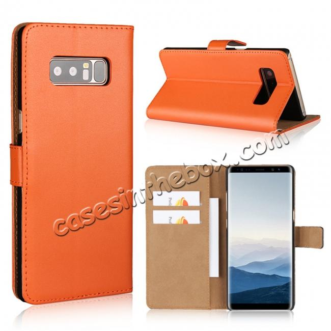 wholesale Luxury Genuine Leather Magnetic Flip Wallet Case Stand Cover For Samsung Galaxy Note 8 - Orange