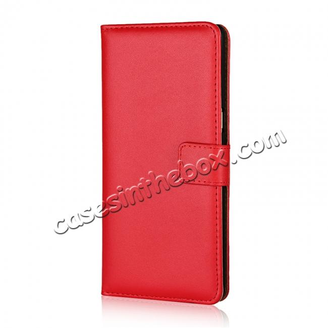 discount Luxury Genuine Leather Magnetic Flip Wallet Case Stand Cover For Samsung Galaxy Note 8 - Red