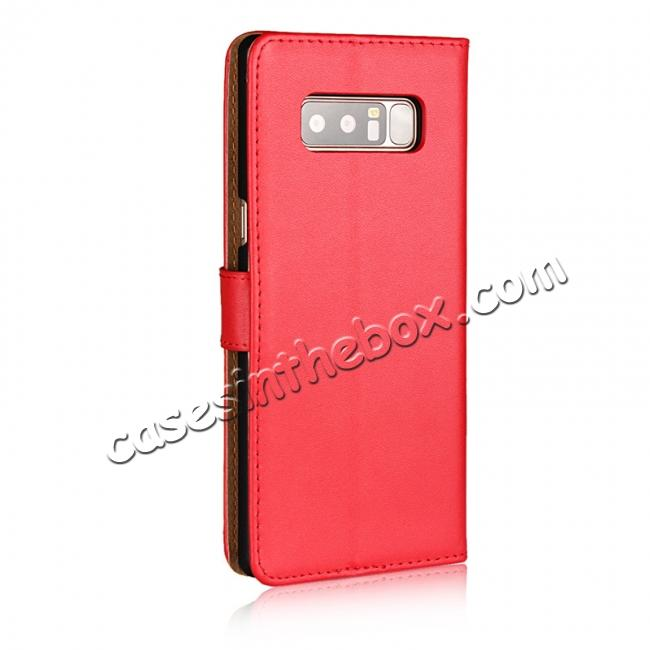 cheap Luxury Genuine Leather Magnetic Flip Wallet Case Stand Cover For Samsung Galaxy Note 8 - Red