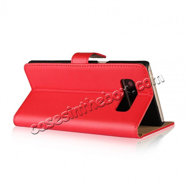 top quality Luxury Genuine Leather Magnetic Flip Wallet Case Stand Cover For Samsung Galaxy Note 8 - Red
