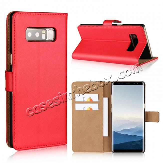 wholesale Luxury Genuine Leather Magnetic Flip Wallet Case Stand Cover For Samsung Galaxy Note 8 - Red