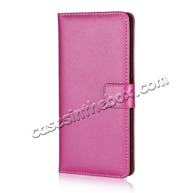 discount Luxury Genuine Leather Magnetic Flip Wallet Case Stand Cover For Samsung Galaxy Note 8 - Rose
