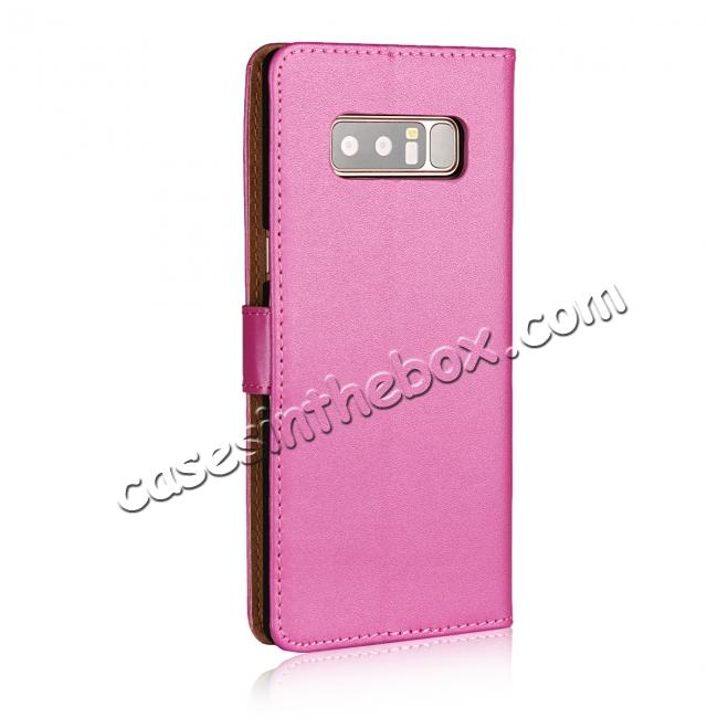 cheap Luxury Genuine Leather Magnetic Flip Wallet Case Stand Cover For Samsung Galaxy Note 8 - Rose