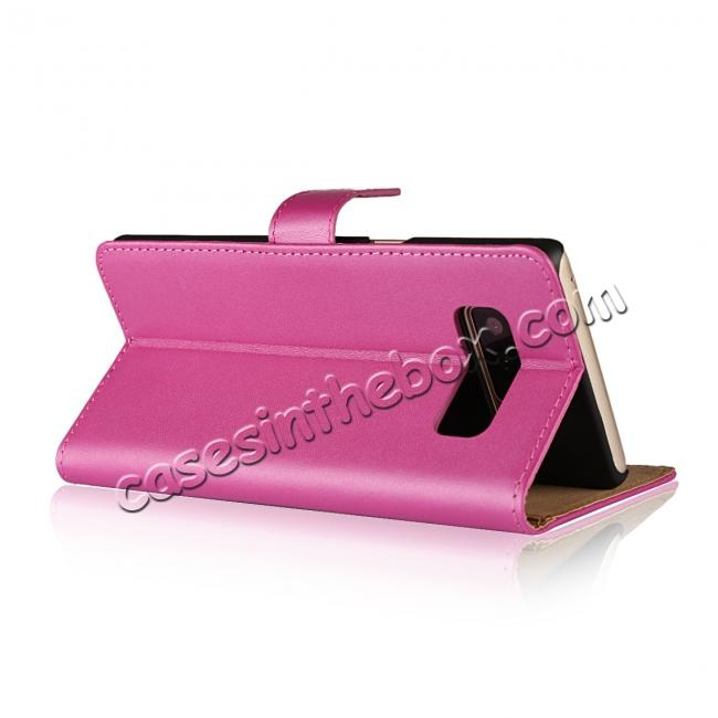 top quality Luxury Genuine Leather Magnetic Flip Wallet Case Stand Cover For Samsung Galaxy Note 8 - Rose