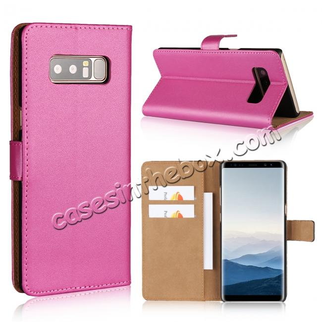 wholesale Luxury Genuine Leather Magnetic Flip Wallet Case Stand Cover For Samsung Galaxy Note 8 - Rose
