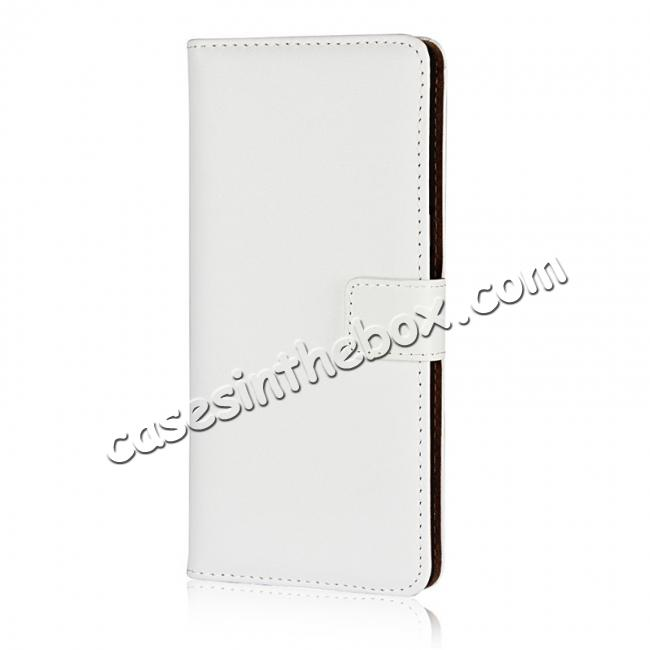 discount Luxury Genuine Leather Magnetic Flip Wallet Case Stand Cover For Samsung Galaxy Note 8 - White