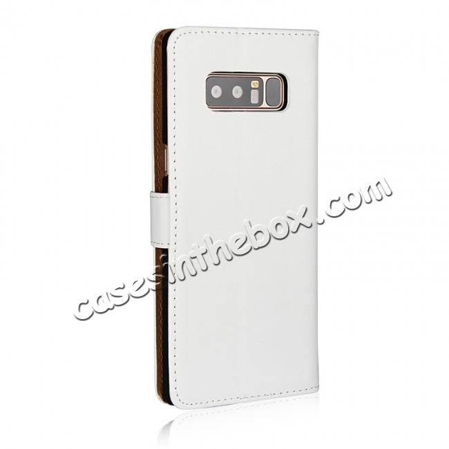 cheap Luxury Genuine Leather Magnetic Flip Wallet Case Stand Cover For Samsung Galaxy Note 8 - White