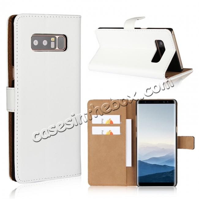 wholesale Luxury Genuine Leather Magnetic Flip Wallet Case Stand Cover For Samsung Galaxy Note 8 - White