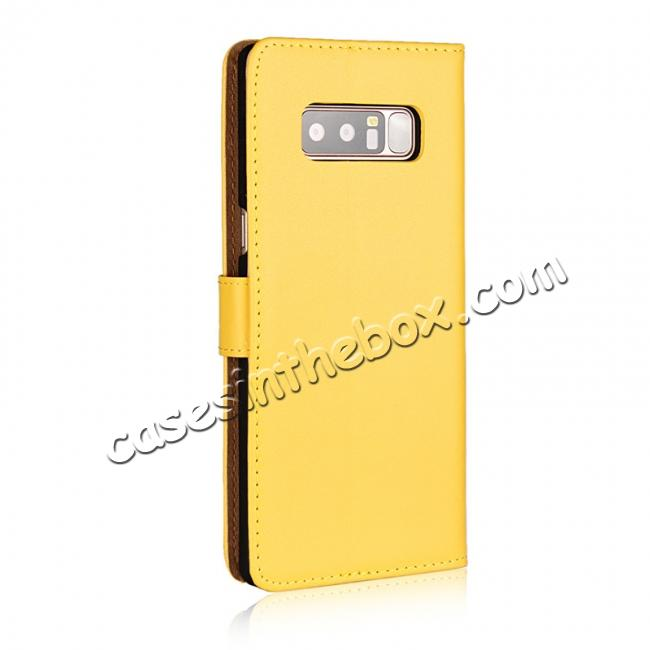 cheap Luxury Genuine Leather Magnetic Flip Wallet Case Stand Cover For Samsung Galaxy Note 8 - Yellow