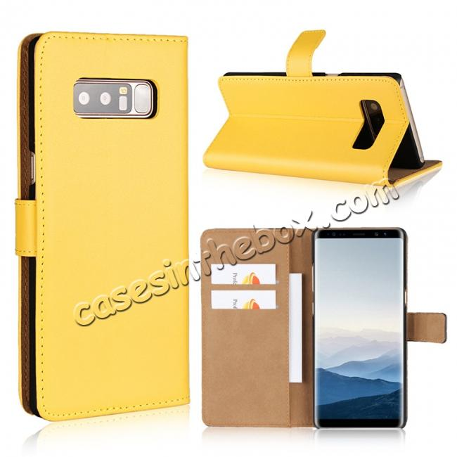 wholesale Luxury Genuine Leather Magnetic Flip Wallet Case Stand Cover For Samsung Galaxy Note 8 - Yellow