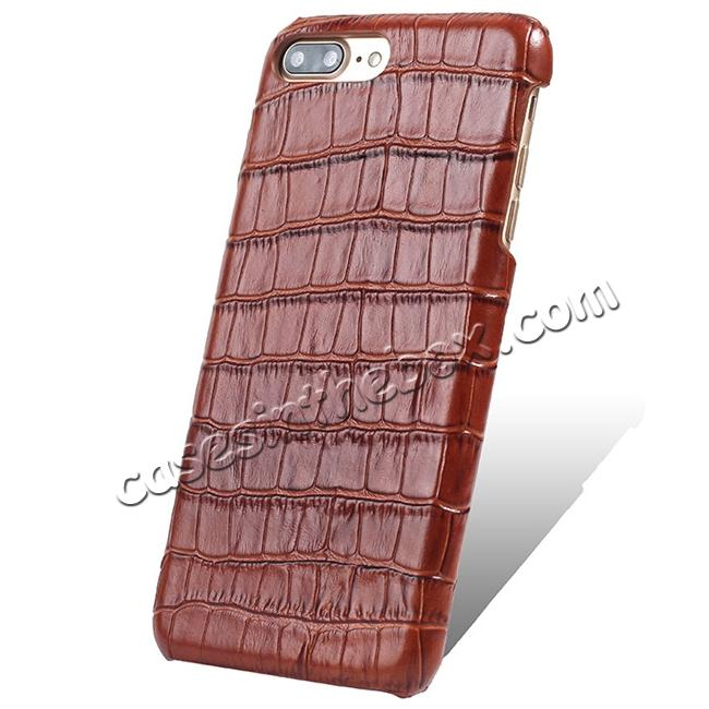wholesale Luxury Genuine Real Leather Crocodile Back Case Cover For Apple iPhone 8 Plus - Brown