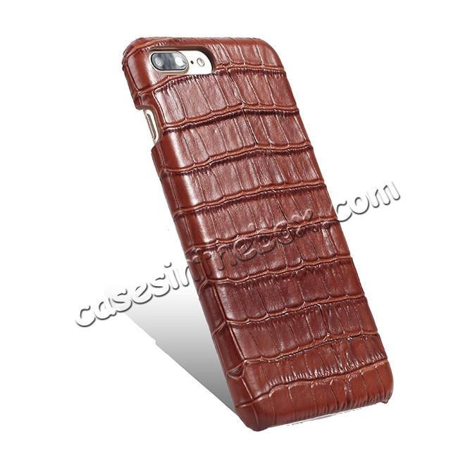 cheap Luxury Genuine Real Leather Crocodile Back Case Cover For Apple iPhone 8 Plus - Brown