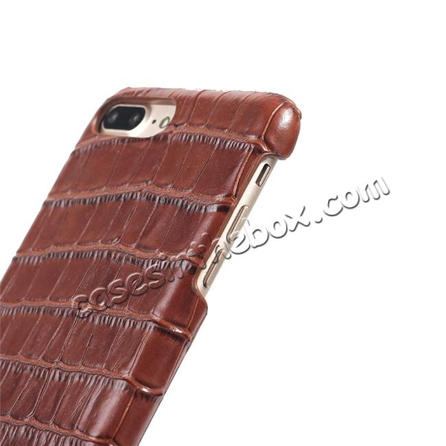 top quality Luxury Genuine Real Leather Crocodile Back Case Cover For Apple iPhone 8 Plus - Brown