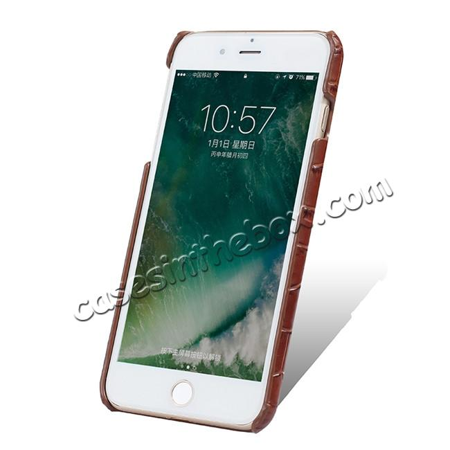 discount Luxury Genuine Real Leather Crocodile Back Case Cover For Apple iPhone 8 Plus - Brown