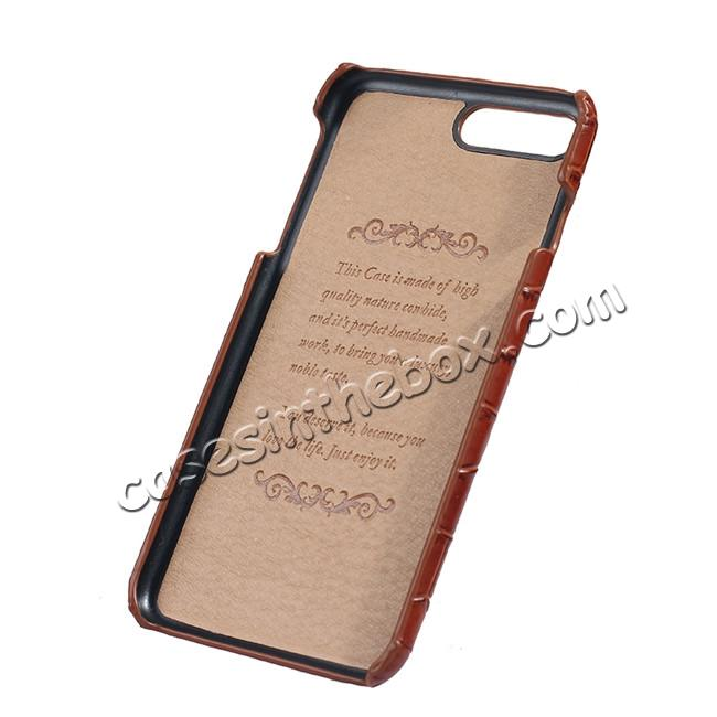 low price Luxury Genuine Real Leather Crocodile Back Case Cover For Apple iPhone 8 Plus - Brown