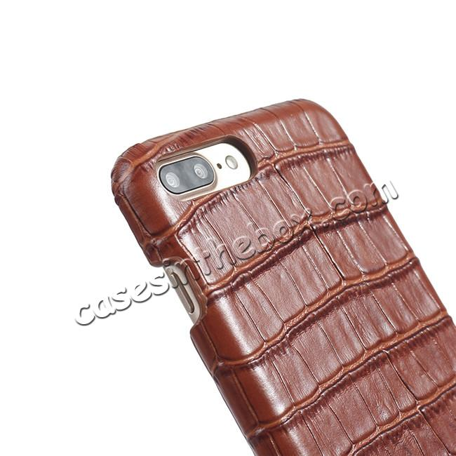 best price Luxury Genuine Real Leather Crocodile Back Case Cover For Apple iPhone 8 Plus - Brown
