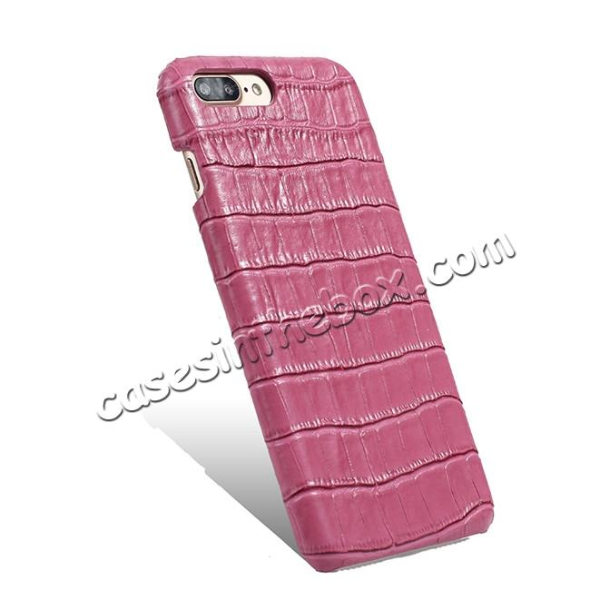top quality Luxury Genuine Real Leather Crocodile Back Case Cover For Apple iPhone 8 Plus - Hot Pink