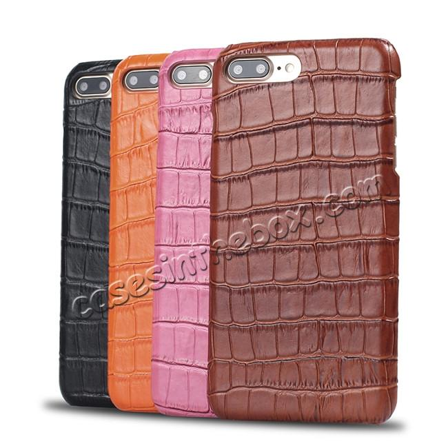 on sale Luxury Genuine Real Leather Crocodile Back Case Cover For Apple iPhone 8 Plus - Hot Pink