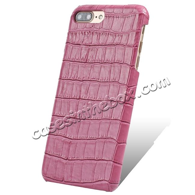 wholesale Luxury Genuine Real Leather Crocodile Back Case Cover For Apple iPhone 8 Plus - Hot Pink