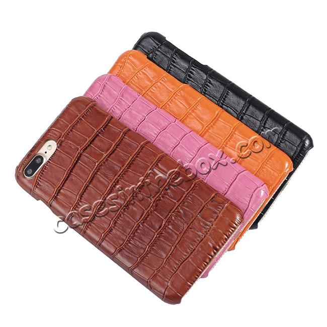 best price Luxury Genuine Real Leather Crocodile Back Case Cover For Apple iPhone 8 Plus - Hot Pink