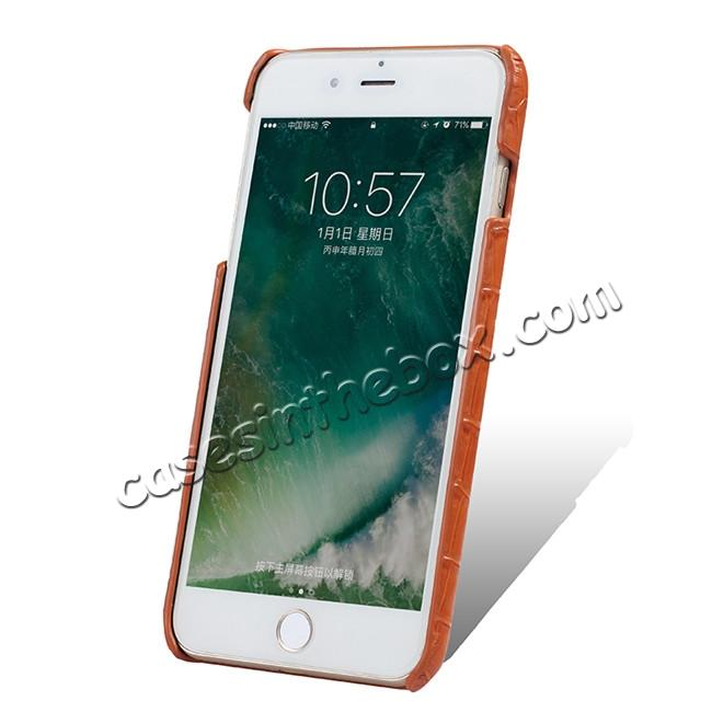 discount Luxury Genuine Real Leather Crocodile Back Case Cover For Apple iPhone 8 Plus - Orange