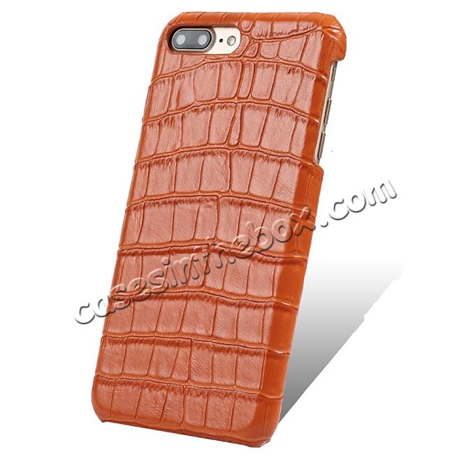 wholesale Luxury Genuine Real Leather Crocodile Back Case Cover For Apple iPhone 8 Plus - Orange