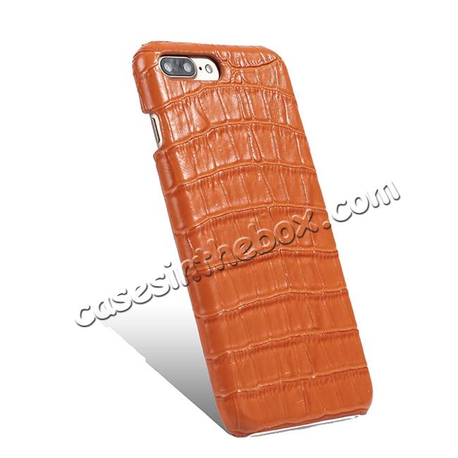 cheap Luxury Genuine Real Leather Crocodile Back Case Cover For Apple iPhone 8 Plus - Orange