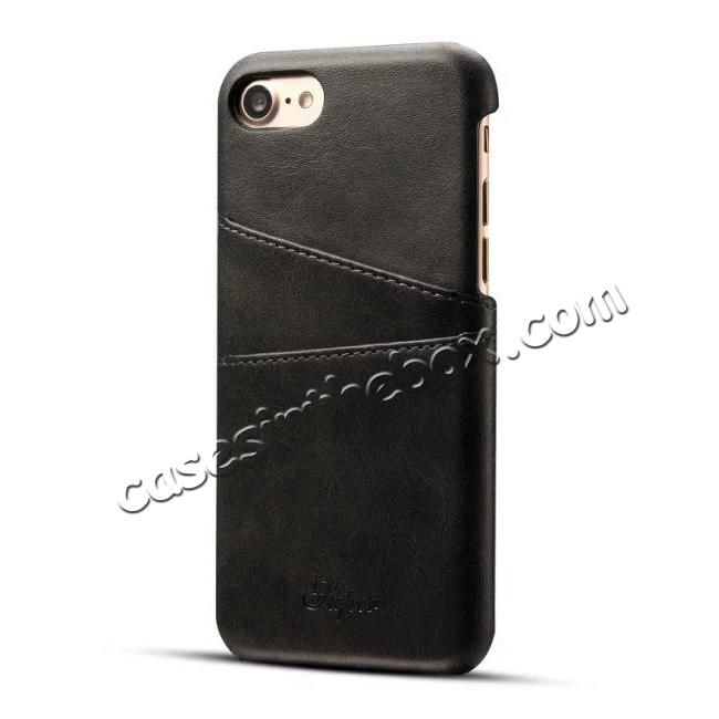 wholesale Luxury Leather Coated Plastic Hard Back Case with Card Slots for iPhone 8 Plus 5.5  - Black