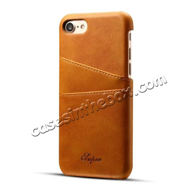wholesale Luxury Leather Coated Plastic Hard Back Case with Card Slots for iPhone 8 Plus 5.5  - Brown