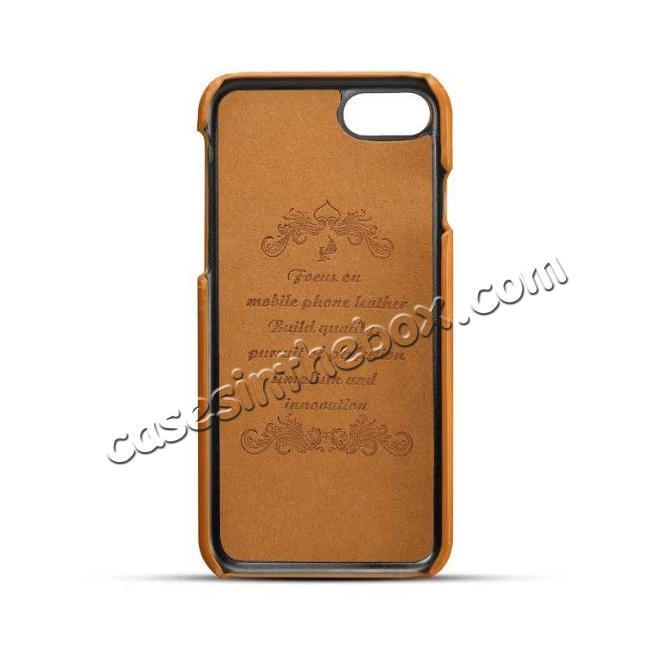 discount Luxury Leather Coated Plastic Hard Back Case with Card Slots for iPhone 8 Plus 5.5  - Brown