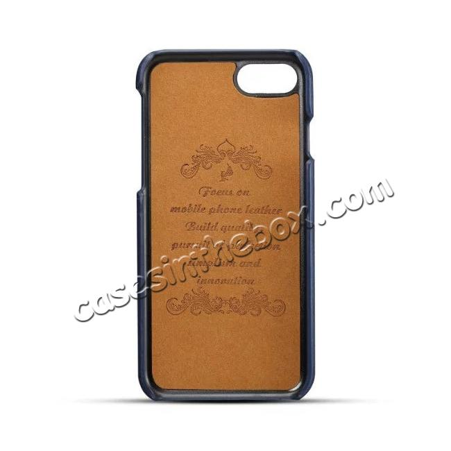 discount Luxury Leather Coated Plastic Hard Back Case with Card Slots for iPhone 8 Plus 5.5  - Dark Blue