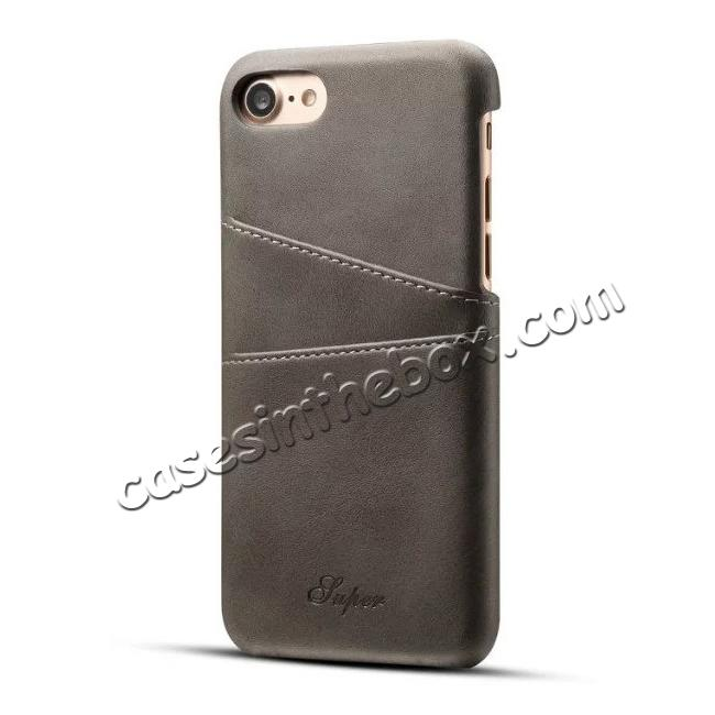 wholesale Luxury Leather Coated Plastic Hard Back Case with Card Slots for iPhone 8 Plus 5.5  - Grey