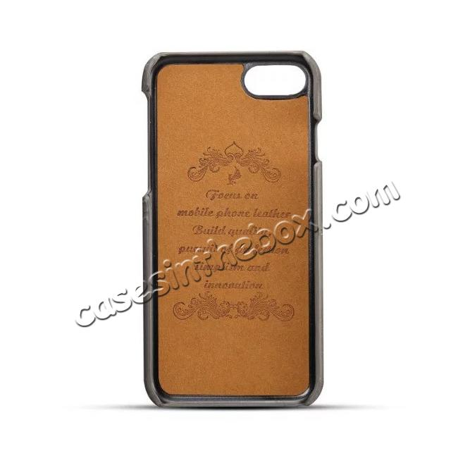 discount Luxury Leather Coated Plastic Hard Back Case with Card Slots for iPhone 8 Plus 5.5  - Grey