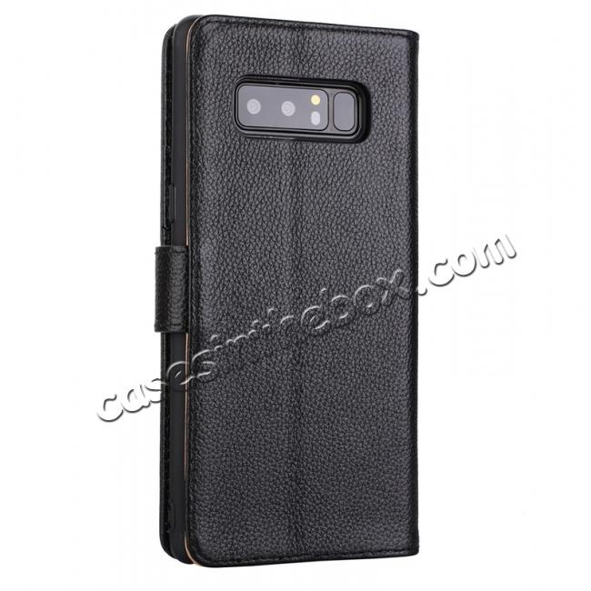 cheap Luxury Litchi Pattern Genuine Leather Flip Case for Samsung Galaxy Note 8 - Black