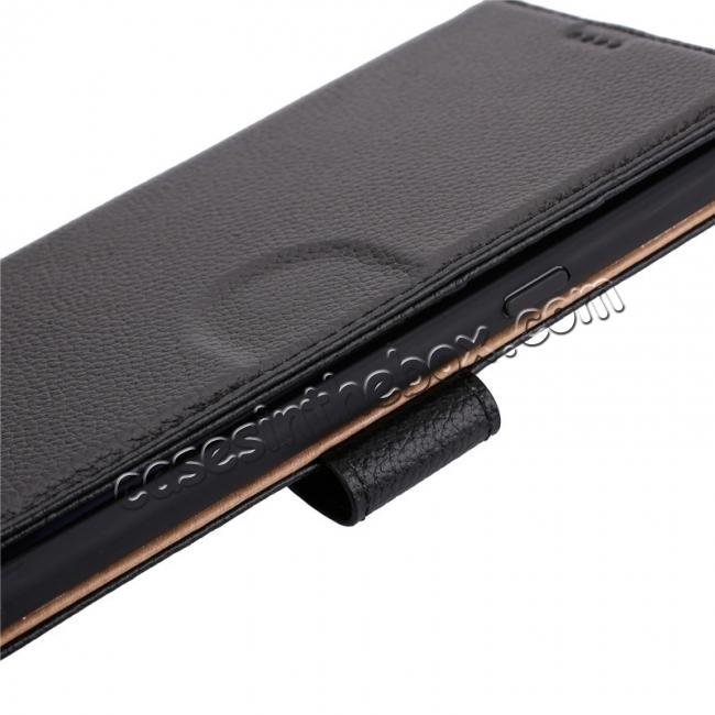 top quality Luxury Litchi Pattern Genuine Leather Flip Case for Samsung Galaxy Note 8 - Black