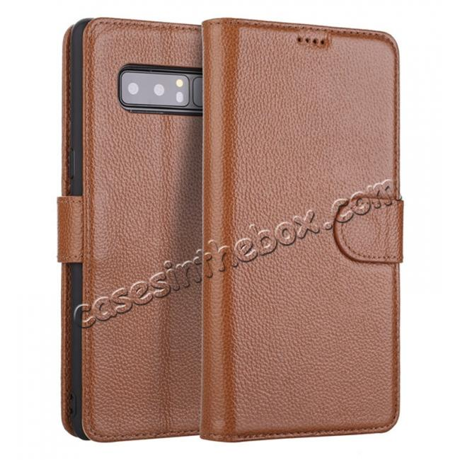 wholesale Luxury Litchi Pattern Genuine Leather Flip Case for Samsung Galaxy Note 8 - Brown