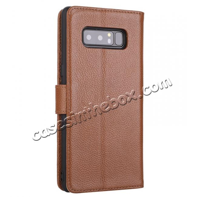 cheap Luxury Litchi Pattern Genuine Leather Flip Case for Samsung Galaxy Note 8 - Brown