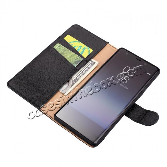 top quality Luxury Litchi Pattern Genuine Leather Flip Case for Samsung Galaxy Note 8 - Brown