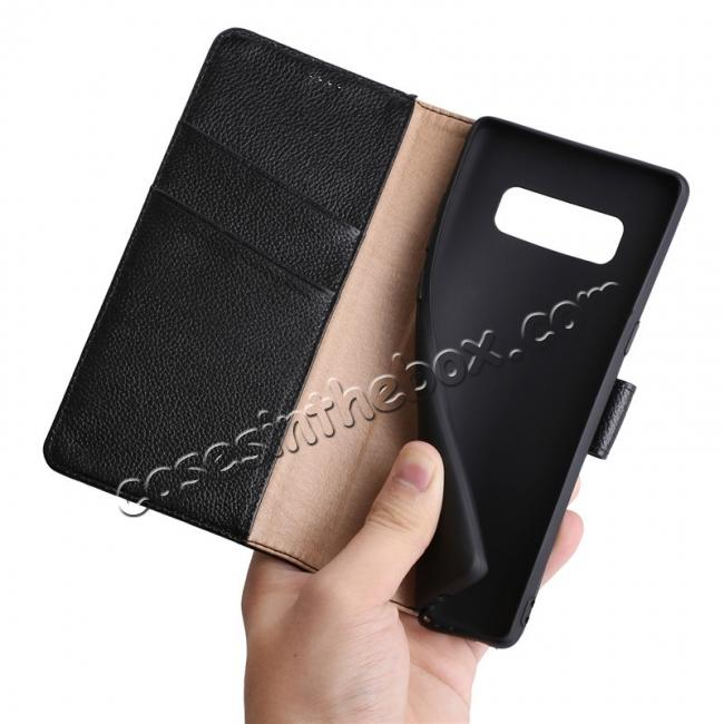 low price Luxury Litchi Pattern Genuine Leather Flip Case for Samsung Galaxy Note 8 - Brown