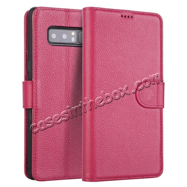 wholesale Luxury Litchi Pattern Genuine Leather Flip Case for Samsung Galaxy Note 8 - Rose