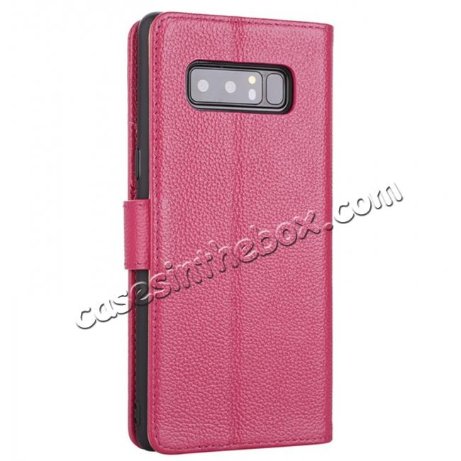 cheap Luxury Litchi Pattern Genuine Leather Flip Case for Samsung Galaxy Note 8 - Rose