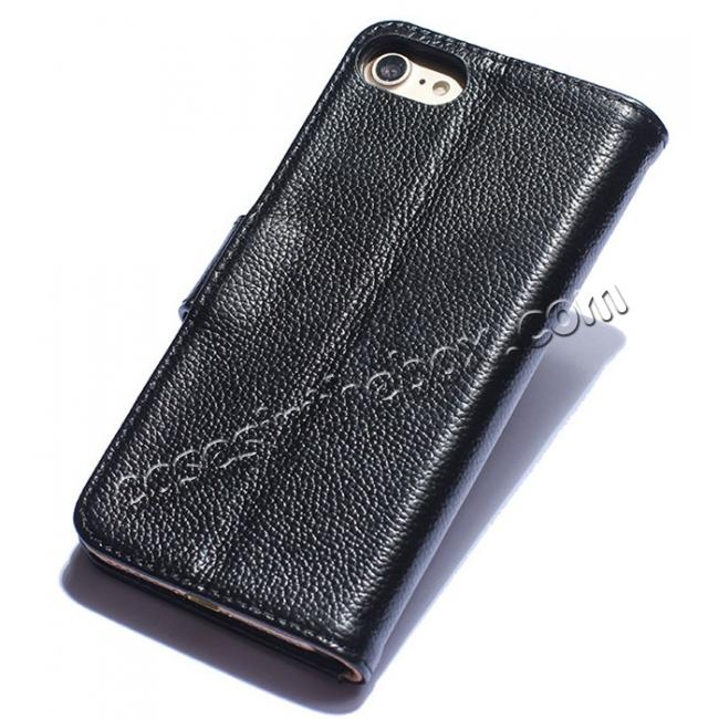 discount Luxury litchi Skin Real Genuine Leather Flip Wallet Case For iPhone 8 4.7 inch - Black